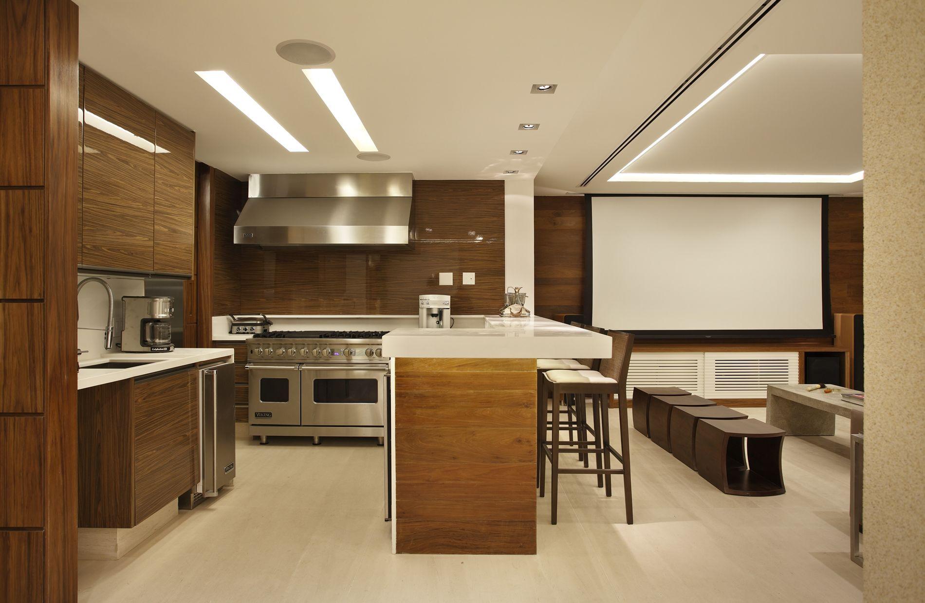 Projeto de Decoração de Interiores em Cozinha Americana  Apartamento  #A0722B 1900 1239