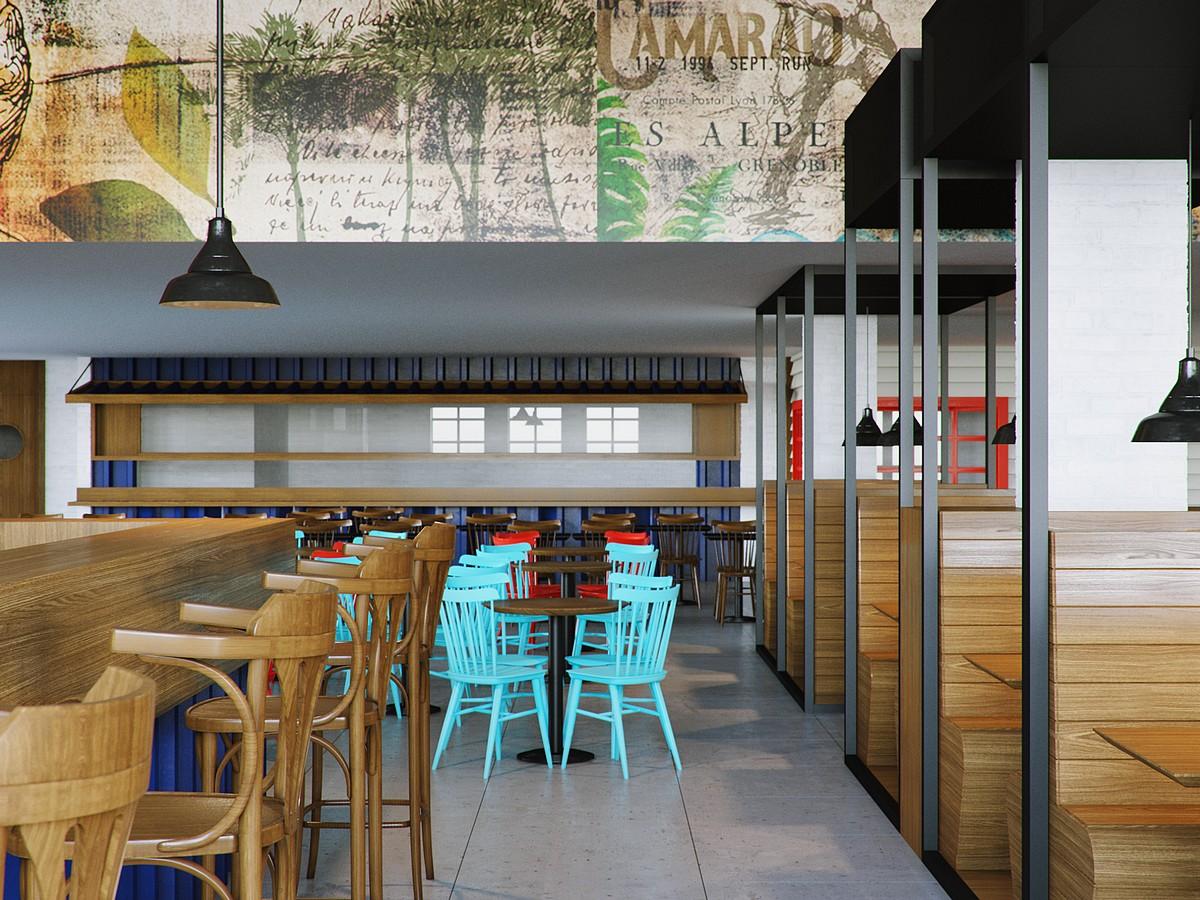Projeto de Arquitetura para Restaurante O Camarão #308D9B 1200 900